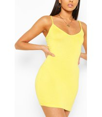 plunge front jersey cami bodycon dress, yellow