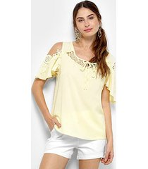 blusa open shoulder top moda com renda feminina