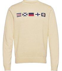 docksides flag knitted crew stickad tröja m. rund krage beige sebago