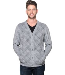 cardigan passion tricot xadrez cinza - kanui