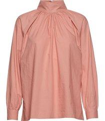 sand t-neck shirt crisp blouse lange mouwen roze moshi moshi mind