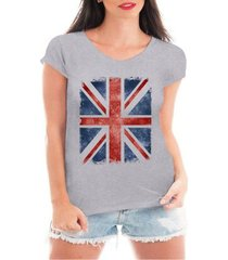 camiseta criativa urbana bandeira de londres - feminino