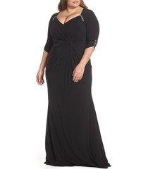 plus size women's mac duggal embellished twist front jersey gown(plus size)