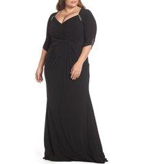 plus size women's mac duggal embellished twist front jersey gown(plus size)