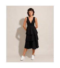 vestido midi em camadas com transpasse sem manga preto