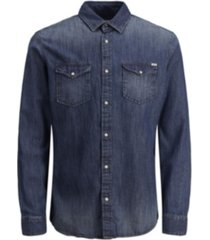 jack & jones men's sheridan push button denim shirt