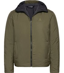 outrack insulated hoodie m gevoerd jack groen salomon