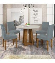 mesa de jantar 4 lugares isabela giovana 100% mdf ypê/off white - new ceval