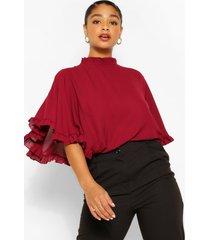 plus ruffle angel sleeve high neck blouse, berry