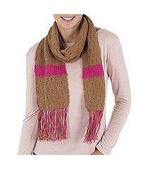 100% alpaca scarf, 'pink horizon' (peru)