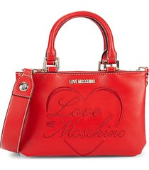 love moschino women's logo embroidery crossbody bag - red