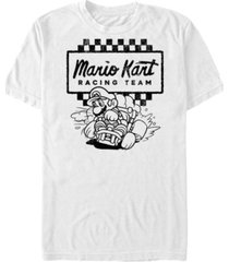 nintendo men's mario kart retro checkered racing team short sleeve t-shirt