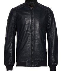 leather light bomber leren jack leren jas zwart superdry