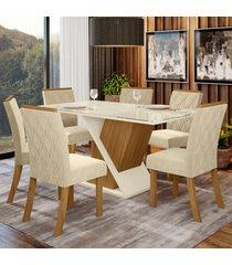 mesa de jantar 6 lugares carol nature/off white/linho - bci móveis