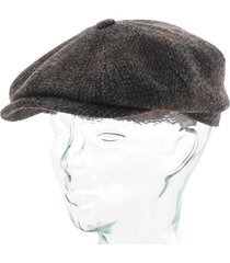 stetson hats harris tweed flat cap - grey check 6840307