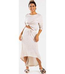 ashlyn high low drawstring skirt - beige