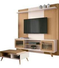 "conjunto painel home theater para tv até 60"""" e mesa de centro sala de estar choice off white/freijó - gran belo"