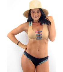 vestido de baño bikini passion for the sun para mujer - dorado