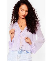 womens sheer us out ruffle tie blouse - lilac