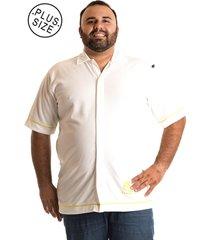 camisa konciny manga curta plus size branco