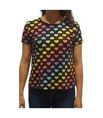 t-shirt cindy basic preto com corações