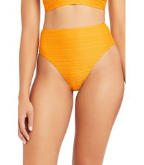 women's sea level retro high waist bikini bottoms, size 14 us - yellow