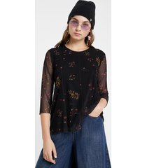 floral t-shirt tulle sleeves - black - xxl