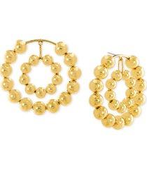 steve madden beaded double hoop drop earrings