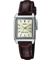 reloj analógico mujer casio ltp-v007l-9e - marrón con blanco