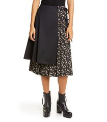 noir kei ninomiya wool panel pleated floral skirt, size large in black at nordstrom