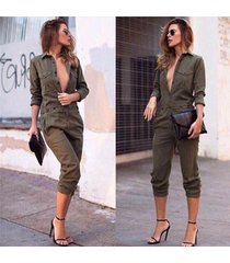 women army green casual long sleeves jumpsuit rompers pant loose trousers suit