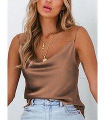 camisa de satén caído de color caqui
