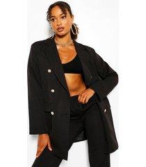 oversized blazer met dubbele rij knopen, zwart