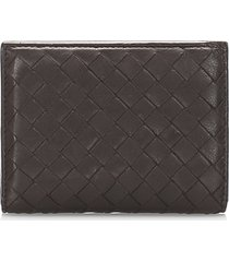 bottega veneta intrecciato leather card holder brown, light brown sz: