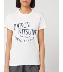 maison kitsuné women's t-shirt palais royal - latte - s