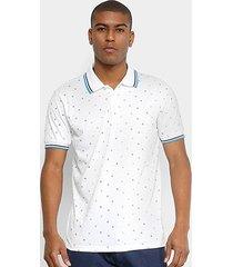 camisa polo broken rules mini print geométrico masculina