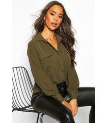 woven oversized long sleeve shirt, khaki