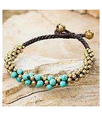 calcite and brass beaded bracelet, 'aqua helix' (thailand)