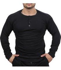 camiseta henley classic slim fit manga longa masculino preto