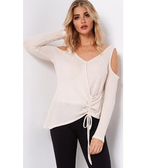 beige lace-up irregular hem fashion t-shirt
