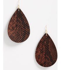 maurices womens brown snakeskin teardrop earrings