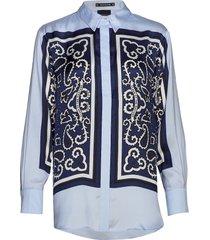 button up silky shirt with placement bandana print overhemd met lange mouwen blauw scotch & soda