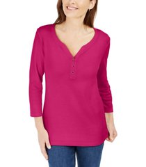karen scott cotton henley v-neck top, created for macy's