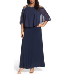 plus size women's alex evenings embellished cold shoulder popover gown, size 22w - blue