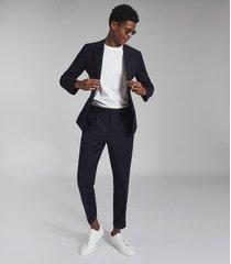 reiss gig - brushed flannel slim fit blazer in navy, mens, size 46