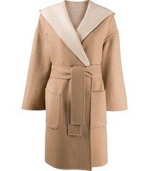 brunello cucinelli belted wrap coat - neutrals