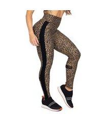 legging poliamida oncinha com recortes preto e tule feminina fitness