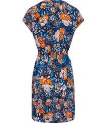 jurk met aangeknipte mouwtjes en ronde hals van peter hahn multicolour