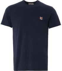 maison kitsune fox head patch t-shirt | navy | 103kj008-nvy