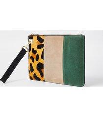 river island womens beige leather leopard print clutch handbag